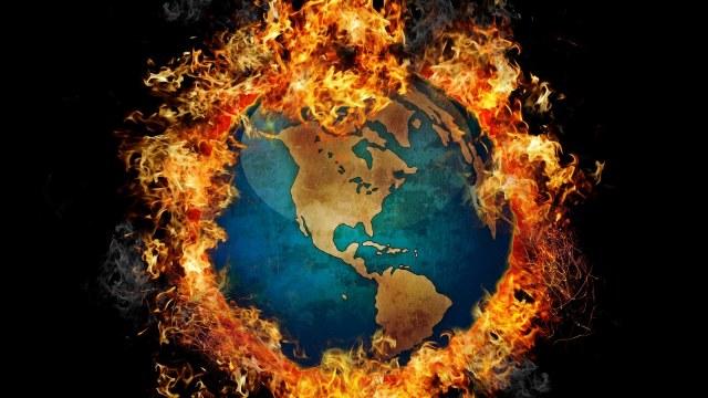 bnurning earth